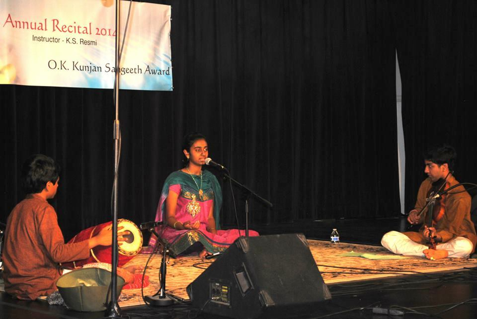 First Prize Winner-Advanced Level of the 2014 O.K. Kunjan Sangeeth Award = Rajeswari Hita Kambhamettu accompanied by Kamalakiran Vinjamuri (violin) & Srikar Chittari (mridangam).