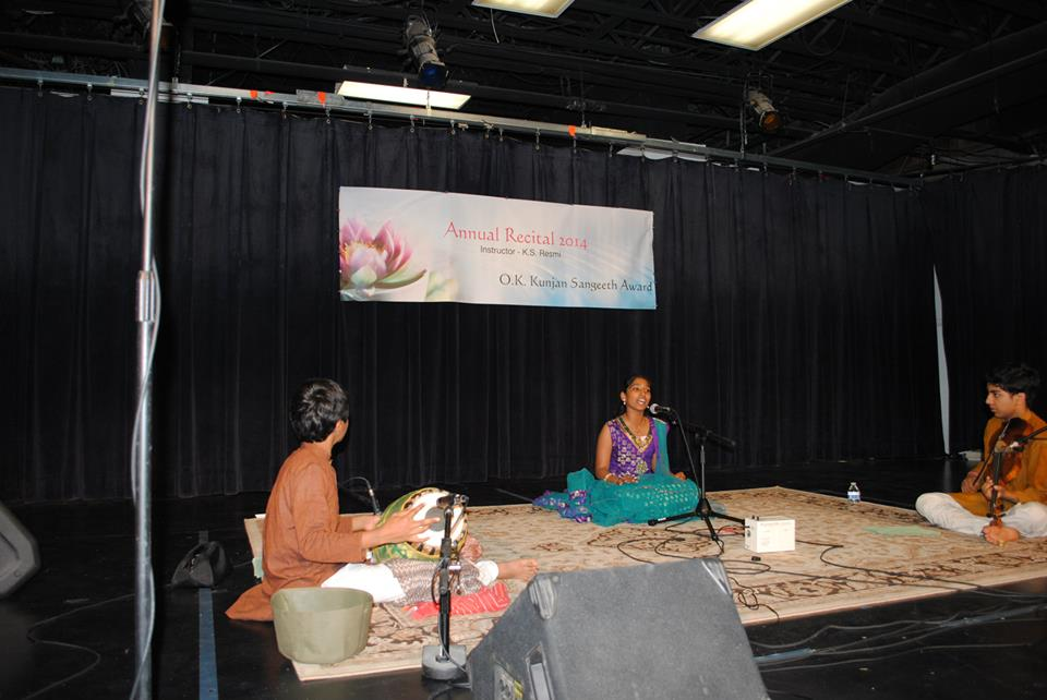 2nd Prize Winner-Intermediate Level of the 2014 O.K. Kunjan Sangeeth Award = Chandrika Iyli accompanied by Kamalakiran Vinjamuri (violin) & Srikar Chittari (mridangam).