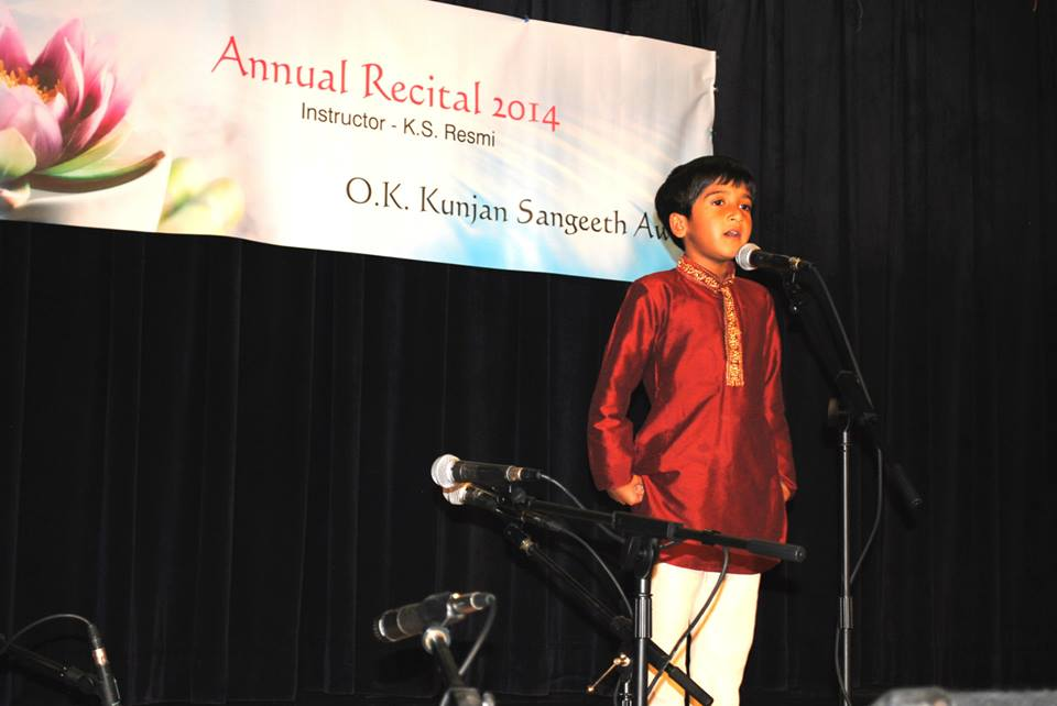 3rd Prize Winner-Beginning Level of the 2014 O.K. Kunjan Sangeeth Award = Naveen Vasudevan.