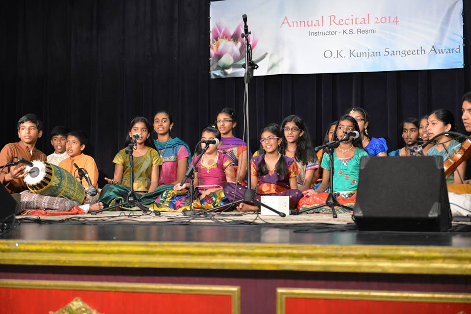 Some of K.S. Resmi's Online Carnatic Music School students performing in the Annual Day Recital and Competition, Murugan Temple of North America, Maryland, USA, June 2014.